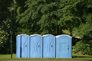A collection of portable toilets